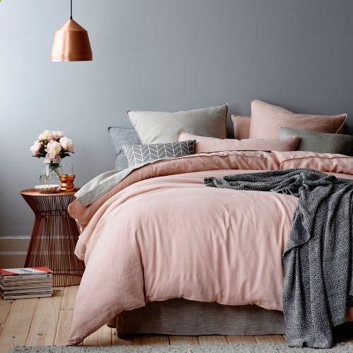 pink & grey bedding